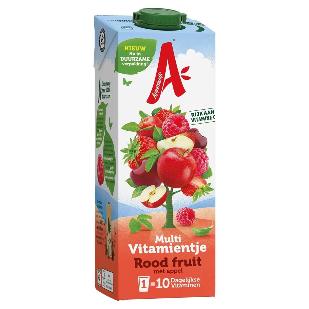 Productafbeelding Appelsientje  vruchtensap multivitamientje rood fruit 1 lt pak met punt