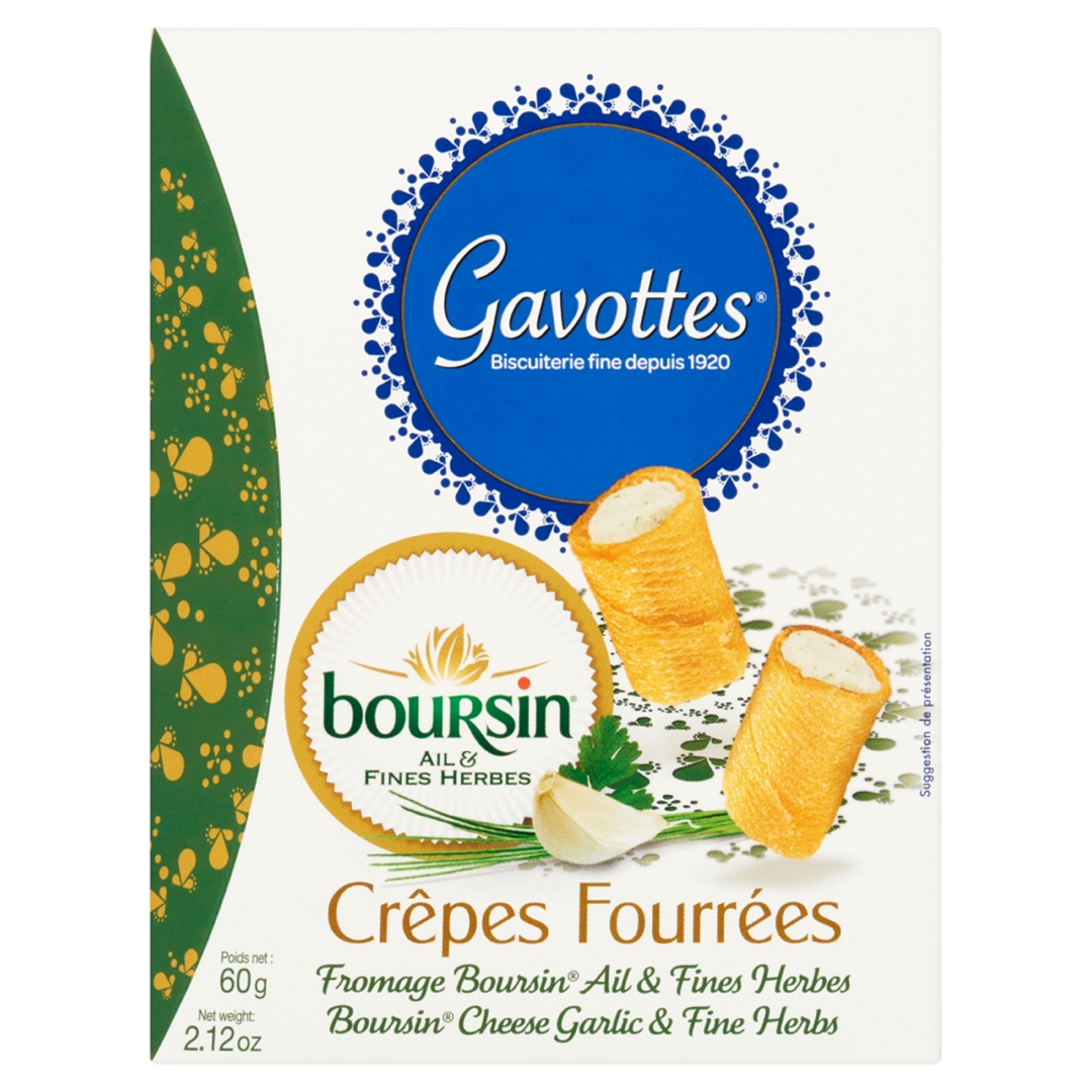 Productafbeelding Gavottes gevulde wafeltjes Boursin cheese garlic & fine herbs 60g doos
