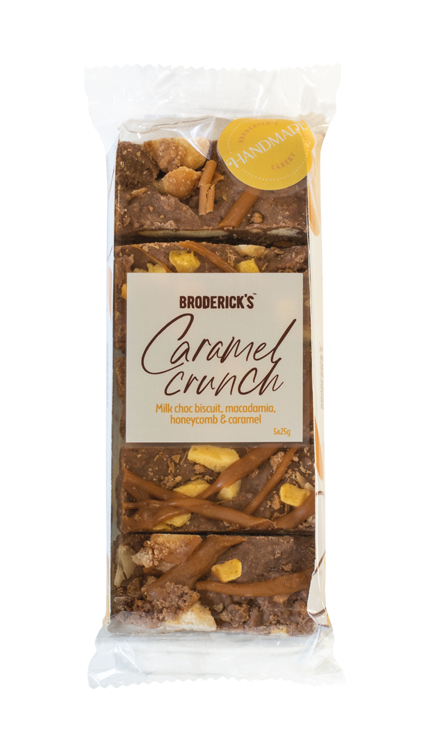 Productafbeelding BRODERICK'S CHOCOLADE BISCUITREEP CARAMEL CRUNCH 125 G WIKKEL