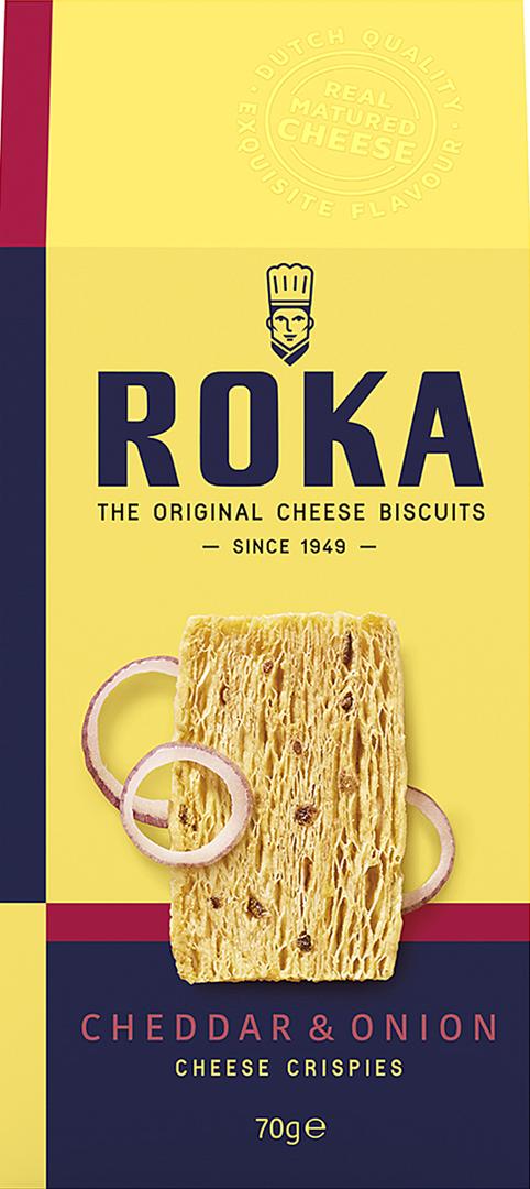 Productafbeelding ROKA KAASKOEKJES CHEDDAR & ONION 70 G DOOS
