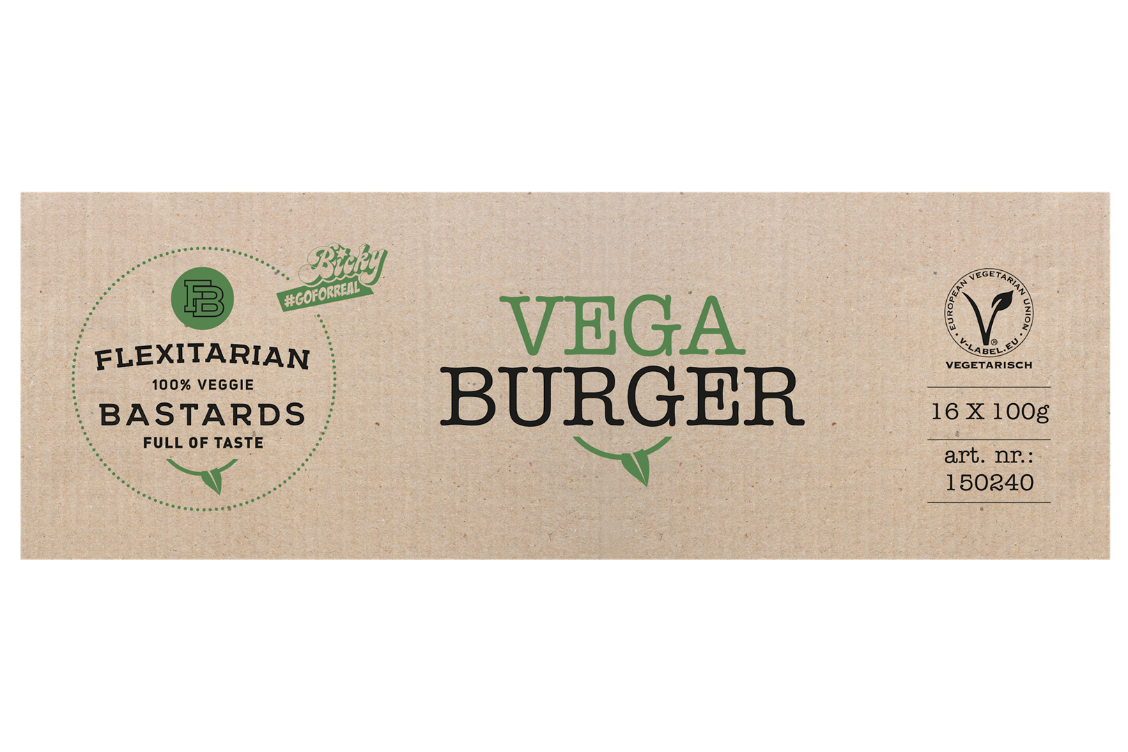 Productafbeelding FLEXITARIAN BASTARDS VEGA BURGER 16X100G  DOOS