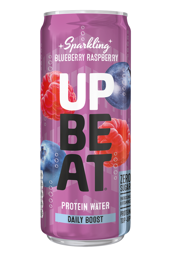Productafbeelding UPBEAT PROTEIN WATER BLUEBERRY RASPBERRY 330 ML BLIK