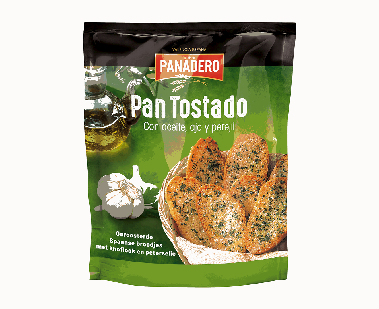 Productafbeelding Panadero geroosterde broodjes Pan Tostado olijf knoflook peterselie 160g stazak