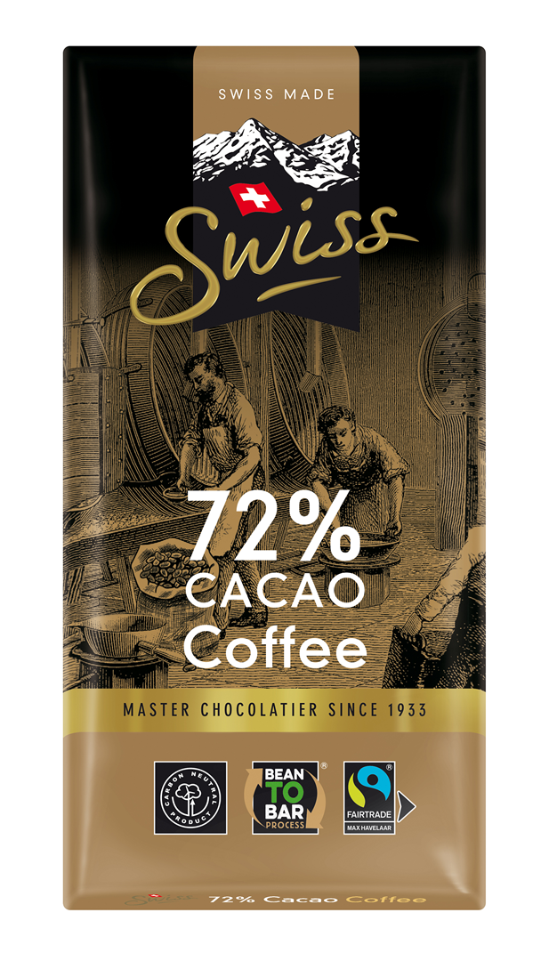 Productafbeelding Swiss chocolade Noir Café 72% cacao 100g wikkel