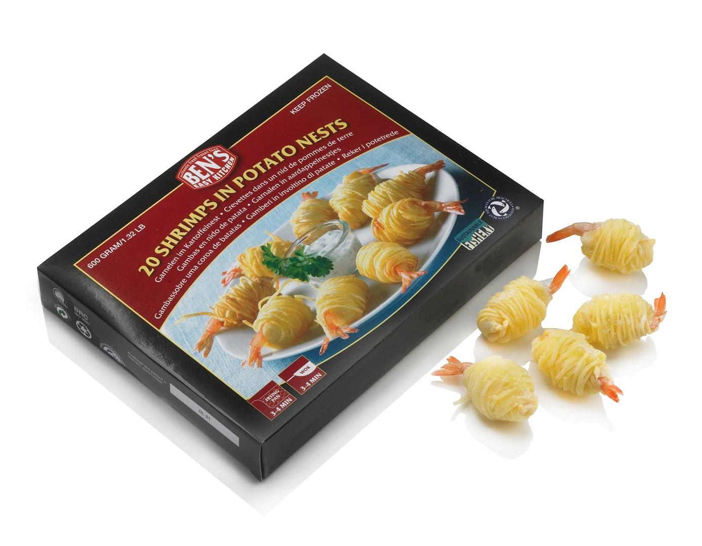 Productafbeelding Garnalen in aardappel, doos 600 gram DV