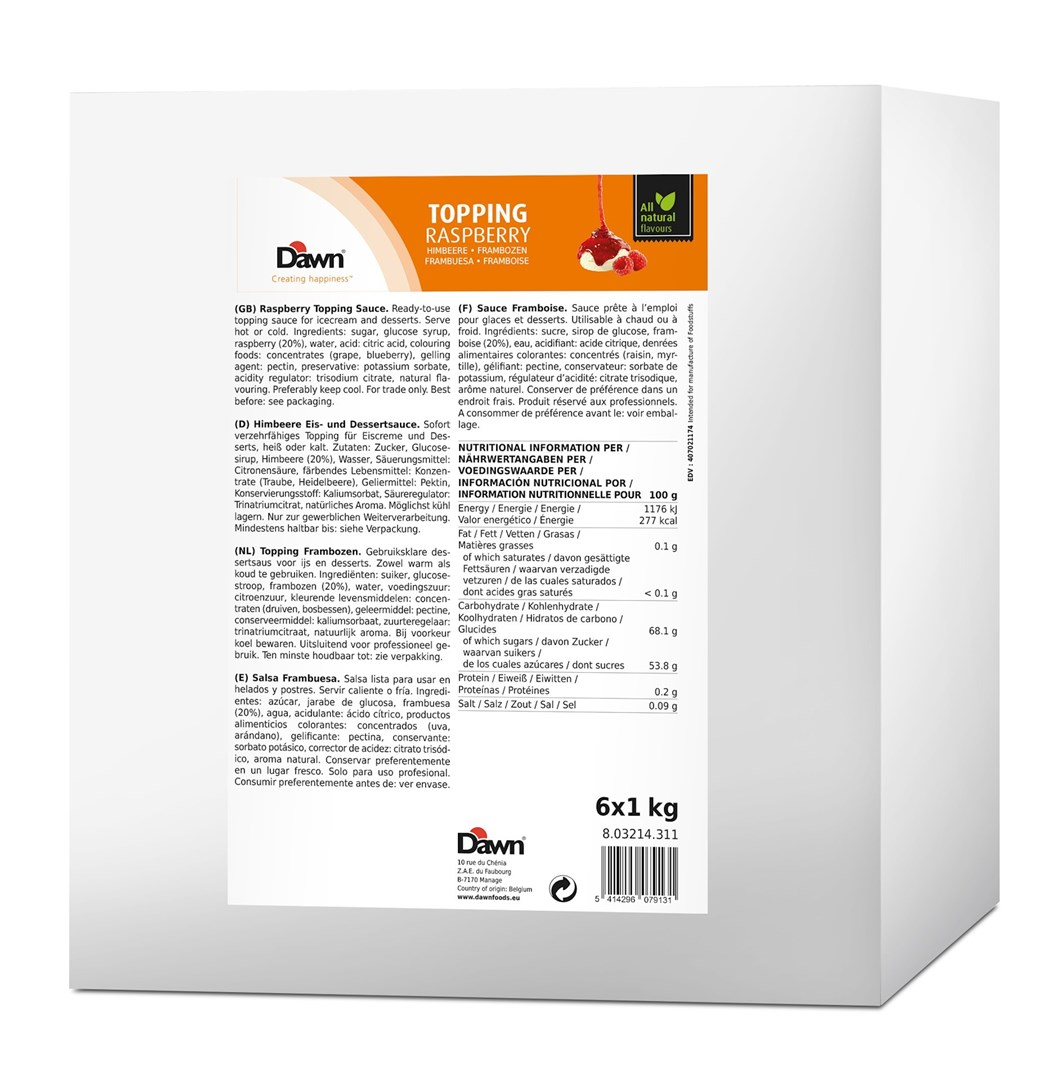 Productafbeelding Dawn Topping Framboos 1 kg fles