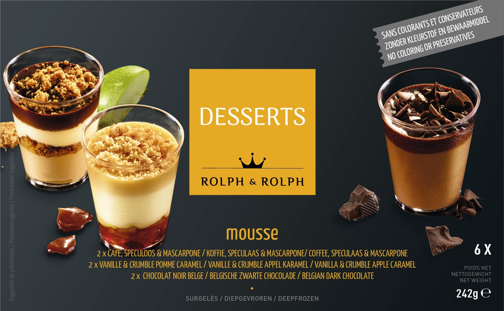 Productafbeelding Desserts 2x Koffie-Speculaas-Mascarpone, 2x Vanille-Appel-Crumble, 2x Belgische zwarte chocolade