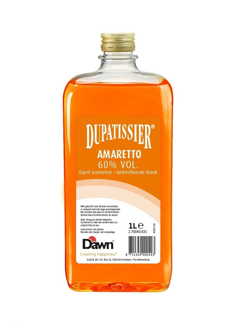 Productafbeelding Dawn Dupatissier Amaretto 60% vol. 1 liter fles