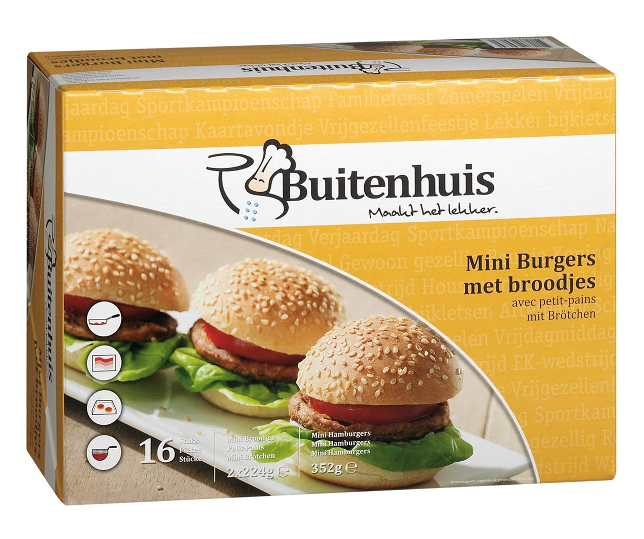Productafbeelding Buitenhuis Mini burgers met broodjes 16x47 gram