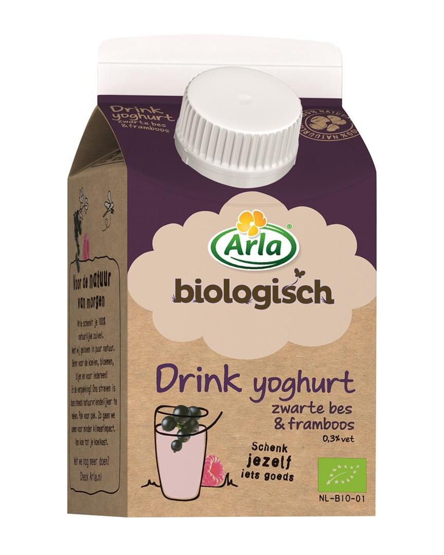Productafbeelding Arla Biologische Drinkyoghurt framboos/zwarte bessen 0,25L minicross