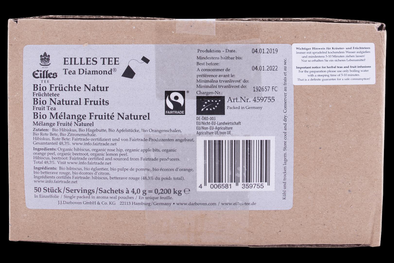 Productafbeelding Eilles Tea Diamonds Bio Fairtrade Natural Fruits geënveloppeerd