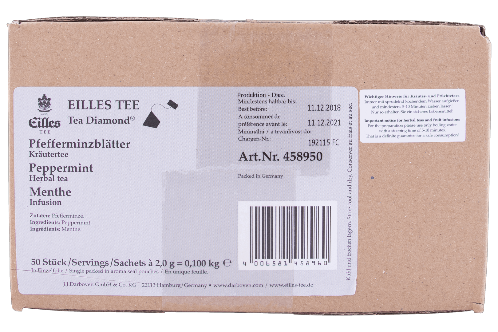 Productafbeelding Eilles Tea Diamonds Peppermint geënveloppeerd