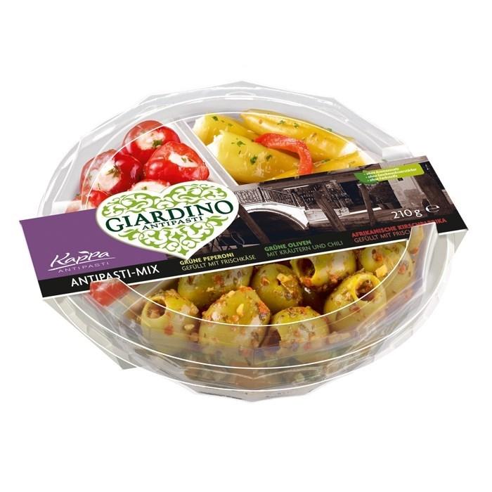 Productafbeelding Antipasti-Mix, Groene peperoni, groene olijven, zoete rode pepers