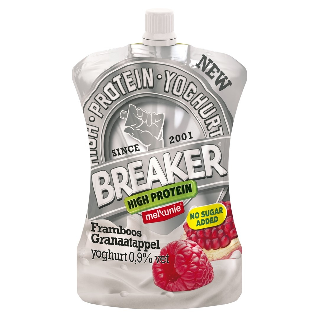 Productafbeelding Melkunie Breaker High Protein Framboos / Granaatappel 200gr no sugar added