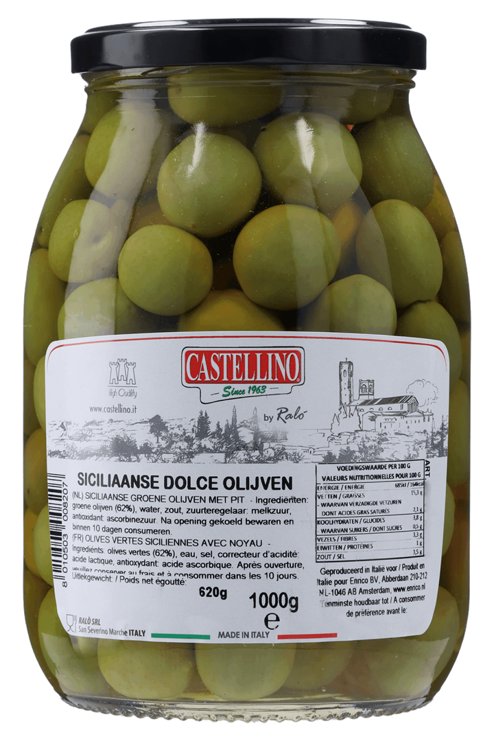 Productafbeelding Castellino groene Siciliaanse Dolce olijven 1000 GRM pot