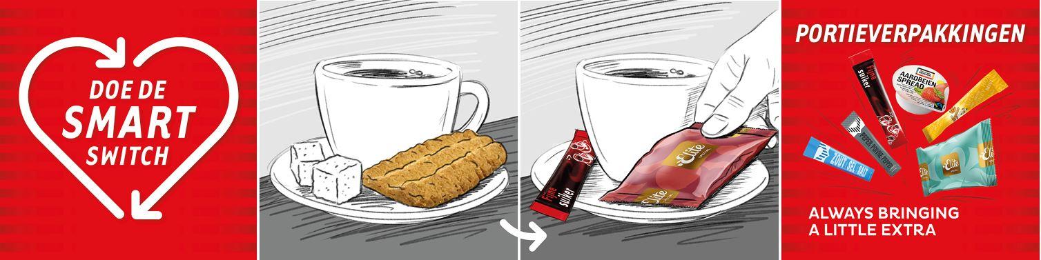 Suiker, zoetstof en snacks verpakt