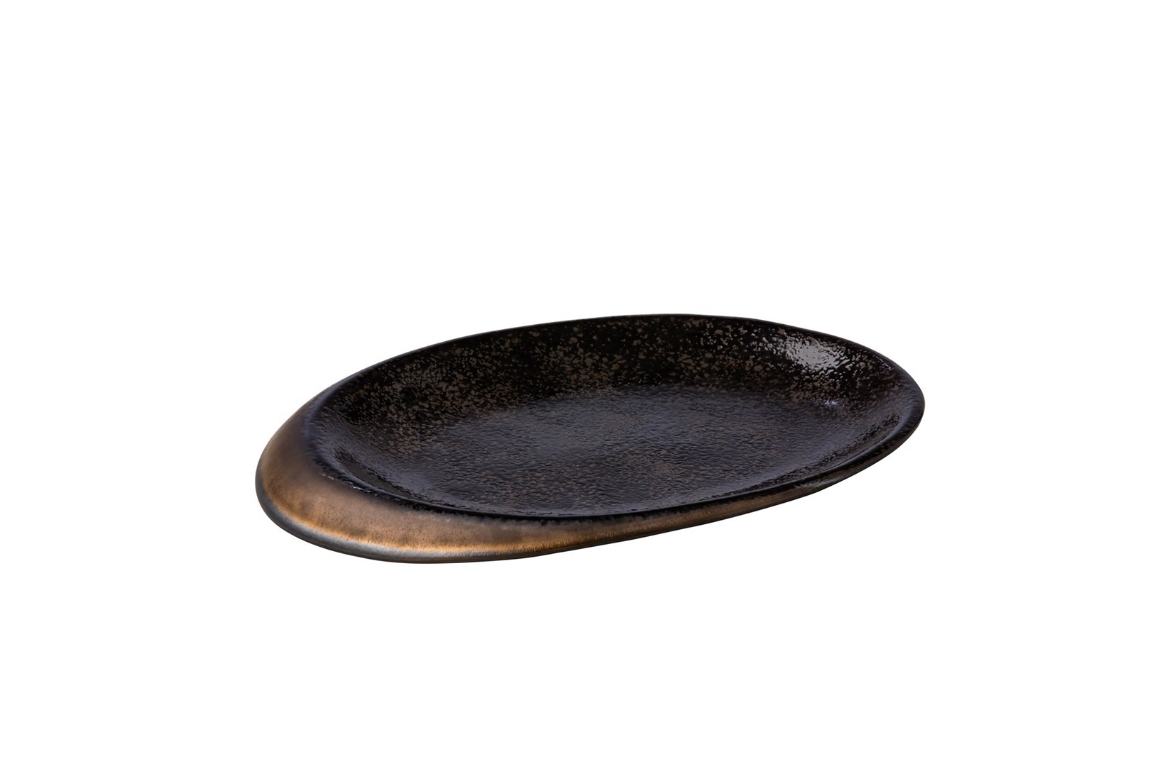 Productafbeelding Ovaal bord stone zwart/goud 25,8 x 18,5 x 2 cm