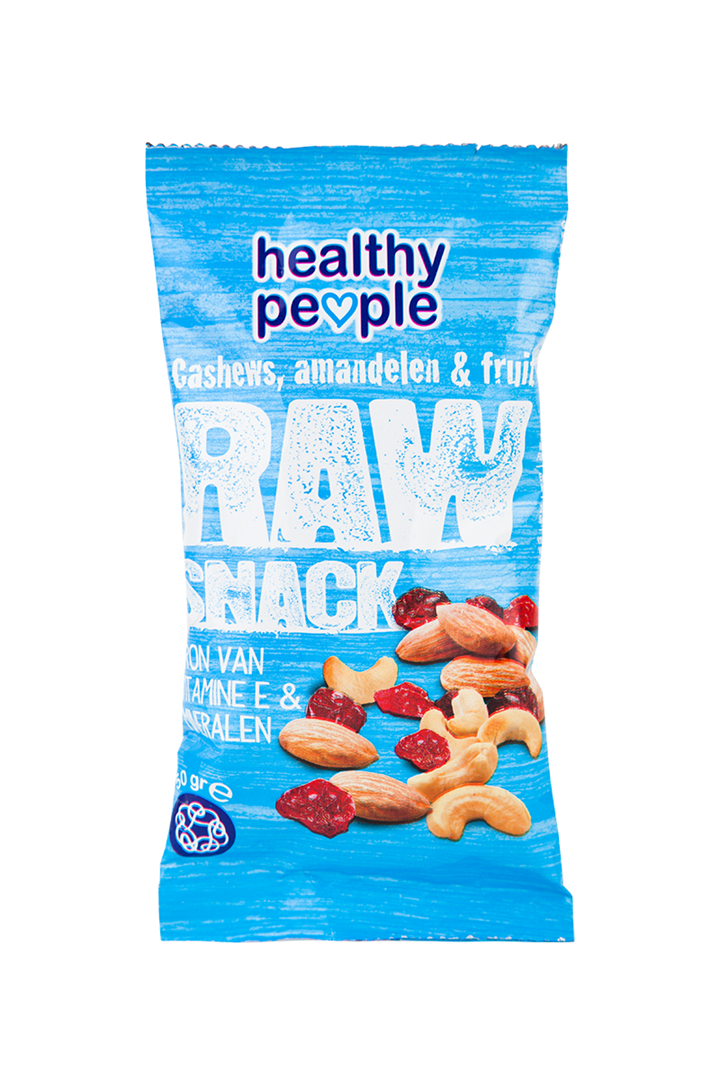 Productafbeelding Healthy People Raw Snack Cashews, amandelen & fruit 50 Gram