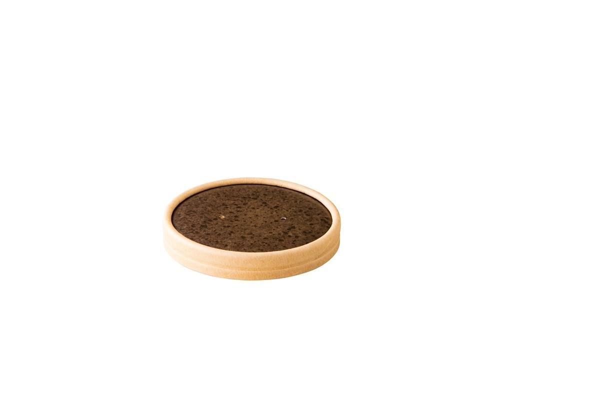 Productafbeelding Kraft papieren deksel Stoneblack 9 cm 25 st