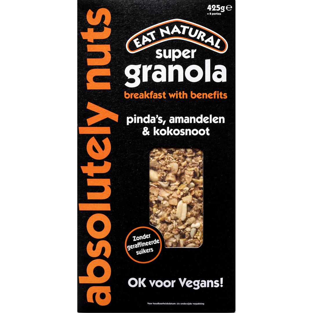 Productafbeelding Eat Natural super granola absolutely nuts pinda's, amandelen & kokosnoot 425g