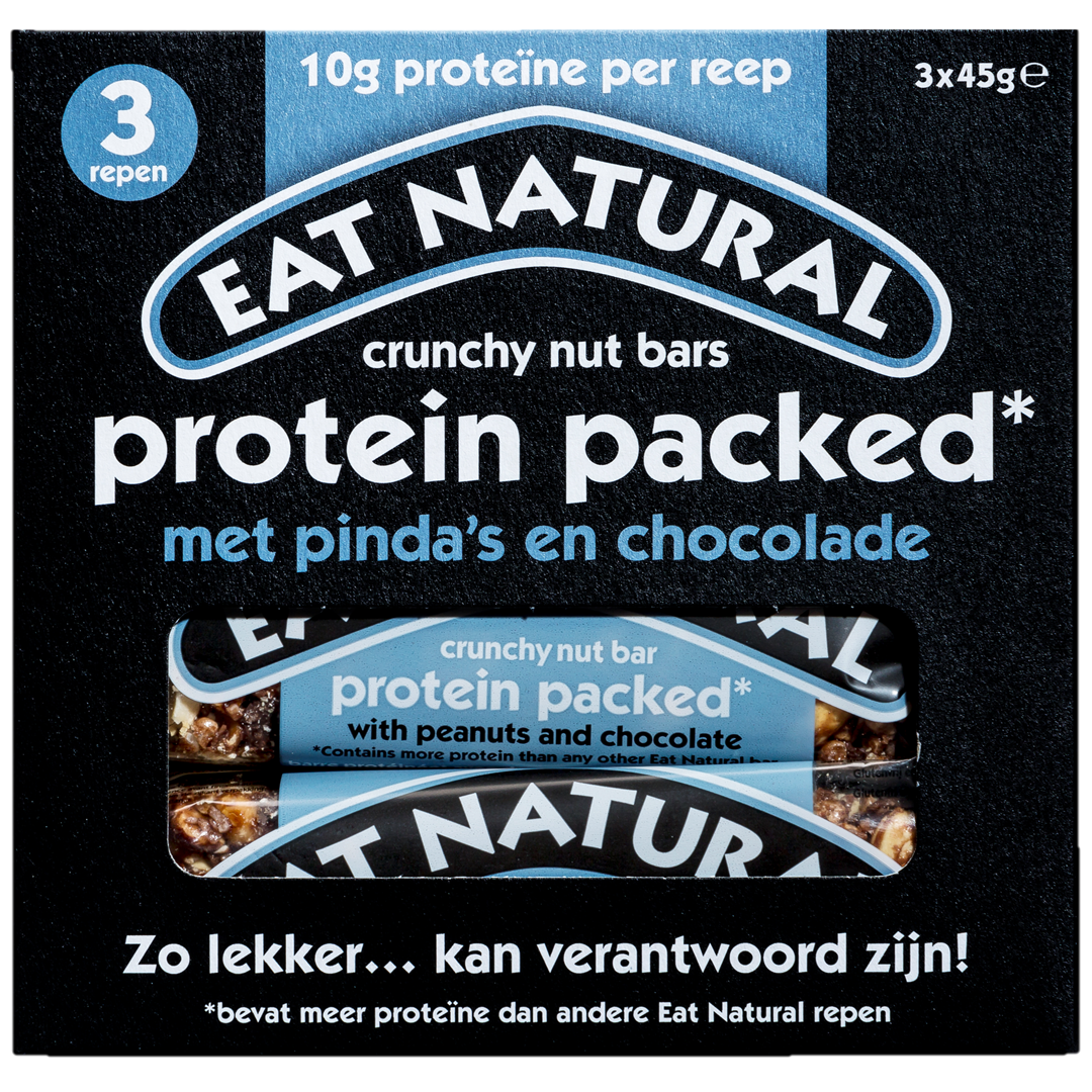 Productafbeelding Eat Natural crunchy nut bars protein packed met pinda's en chocolade 3x45g