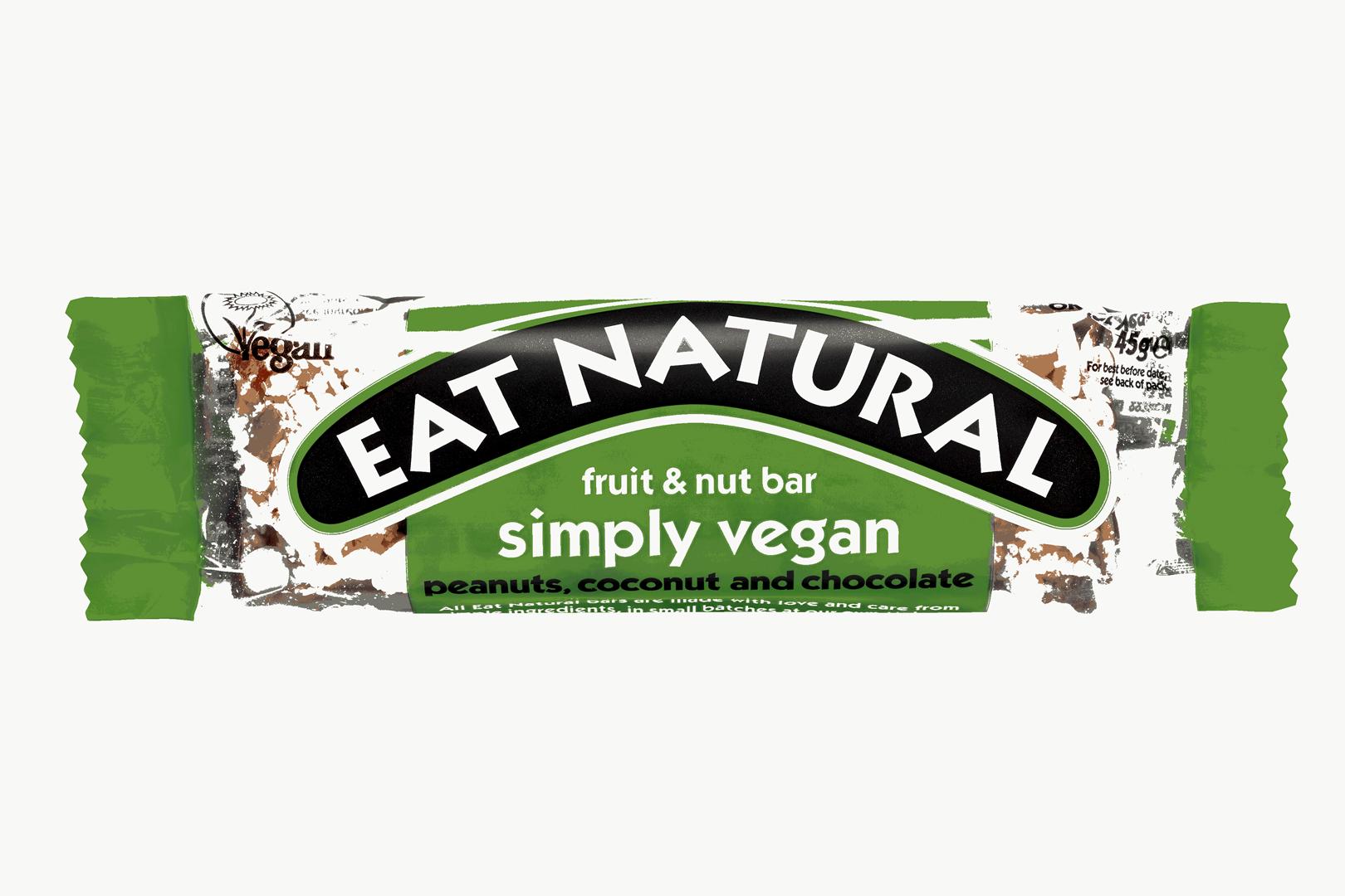 Productafbeelding Eat Natural fruit & nut bar simply vegan pinda's, kokosnoot en chocolade 45g