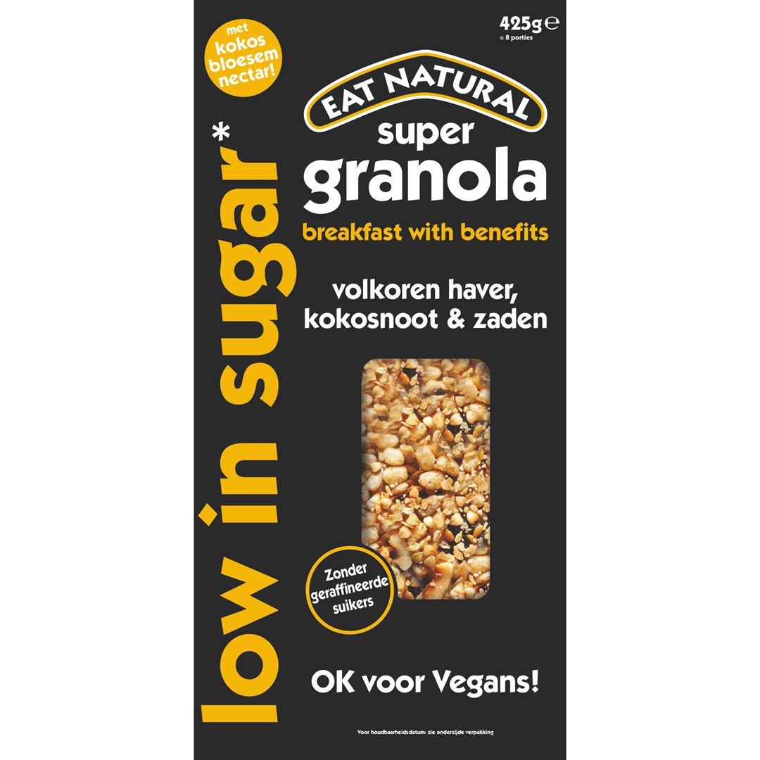 Productafbeelding Eat Natural super granola low in sugar volkoren haver, kokosnoot & zaden 425g