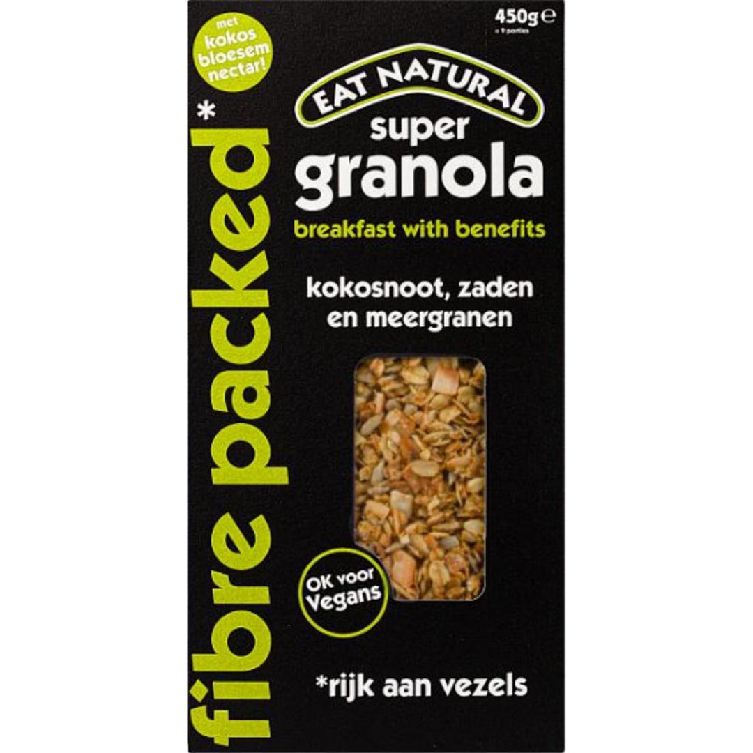 Productafbeelding Eat Natural super granola fibre packed kokosnoot, zaden en meergranen 450g