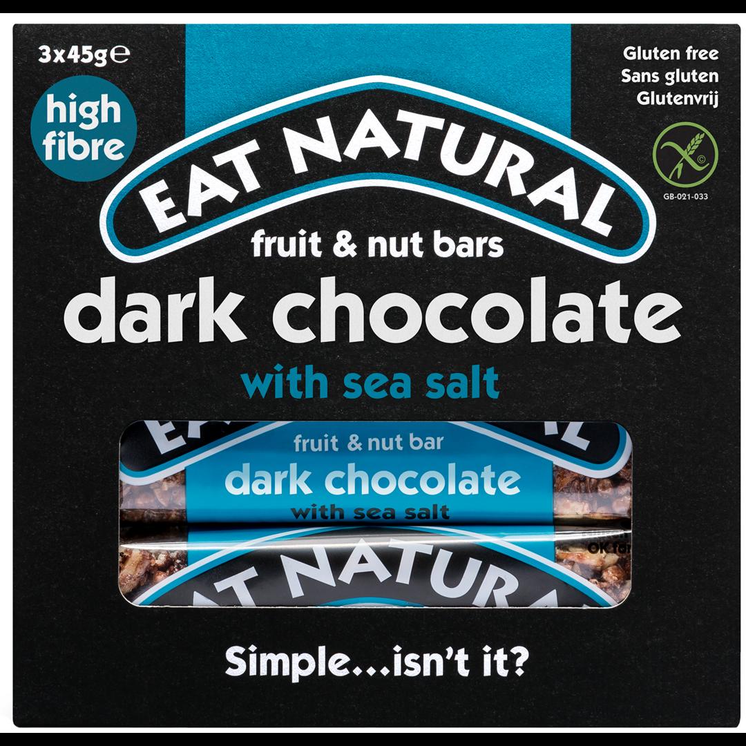 Productafbeelding Eat Natural fruit & nut bars dark chocolate with sea salt 3x45g