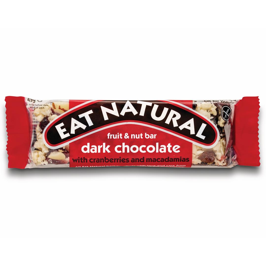 Productafbeelding Eat Natural fruit & nut bar pure chocolade met cranberries en macadamianoten 45g