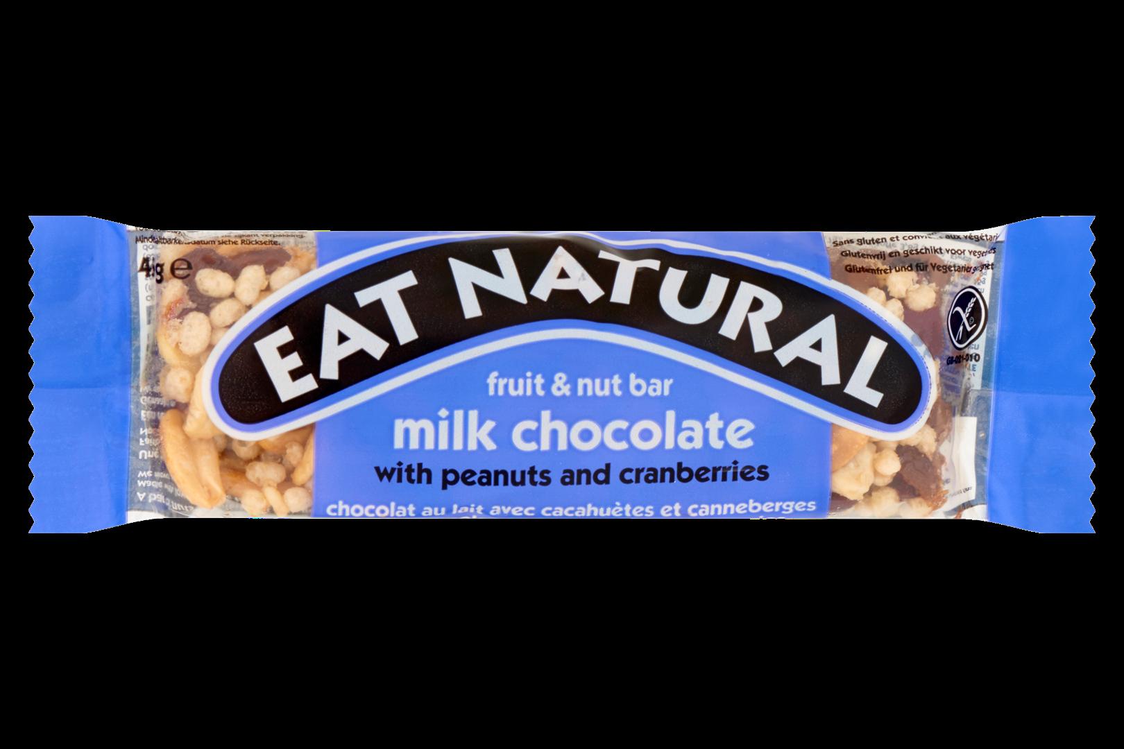 Productafbeelding Eat Natural fruit & nut bar melk chocolade met pinda's en cranberries 45 g