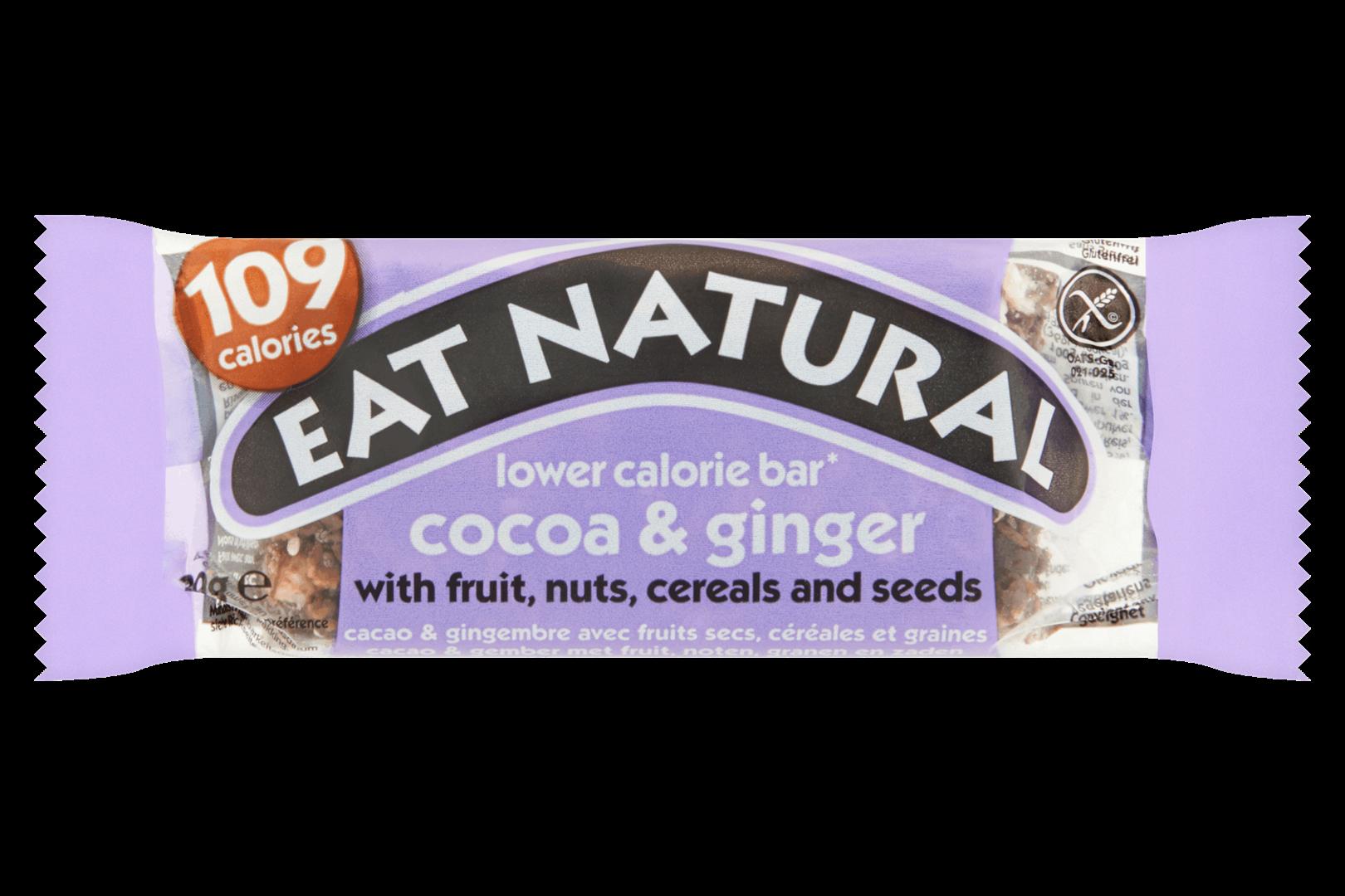 Productafbeelding Eat Natural lower calorie bar cacao & gember met fruit noten, granen en zaden.