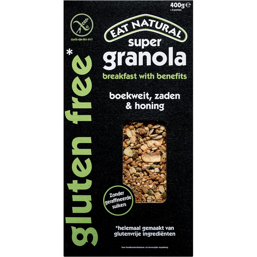 Productafbeelding Eat Natural super granola gluten free boekweit, zaden & honing 400g